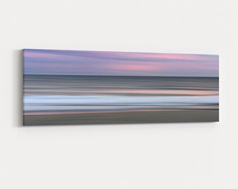 Blurred Waves Abstract Sunset Large Canvas, Coastal Photography, Jersey Shore Wall Art, Free Shipping