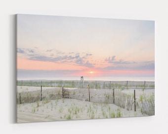 Beach Sand Dunes Sunrise,  Coastal Photography Print and Large Canvas Wall Art, Jersey Shore, Free Shipping