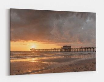 Naples Pier Sunset,  Coastal Photography Print and Large Canvas Wall Art, Gulf Coast Florida, Free Shipping