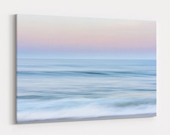 Ocean Waves Sunset Print and Canvas, Relaxing Coastal Photography, Large Abstract Beach Wall Art, Free Shipping