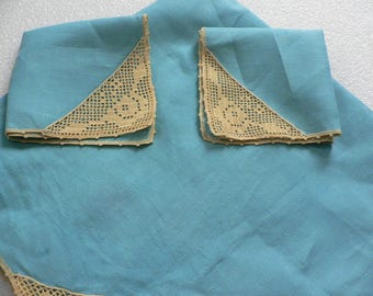 Set of Vintage Turquoise Blue Linen Tablecloth & 2 Napkins with Crochet Edging - Tea Party