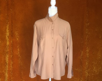 1990s Beige Joanna Button Up Blouse