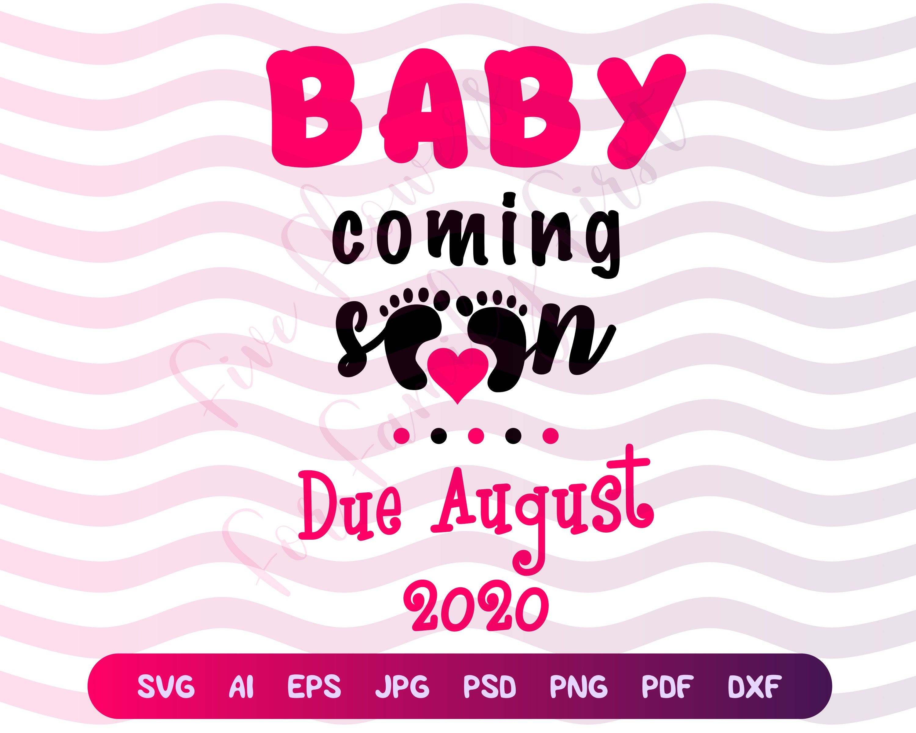 Pregnancy Announcement SVG Baby Girl Coming Soon August   Etsy