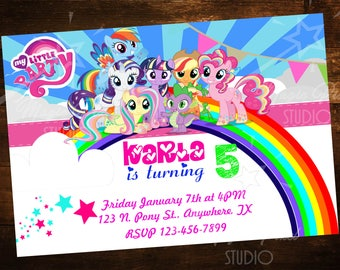Custom Digital My Little Pony Birthday Invitations