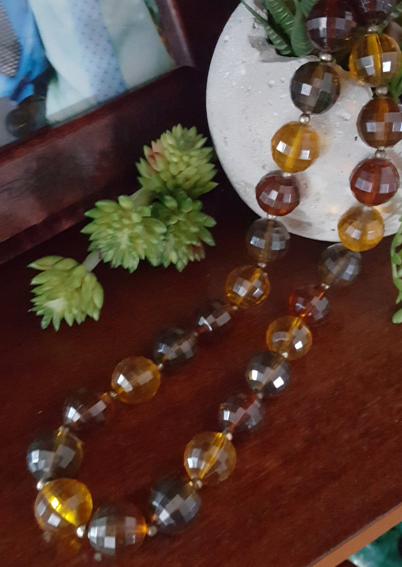 Vintage Amber Bead Necklace chunky jewelry faceted beads large statement earthtones vintagegypsytreasure boho bohemian