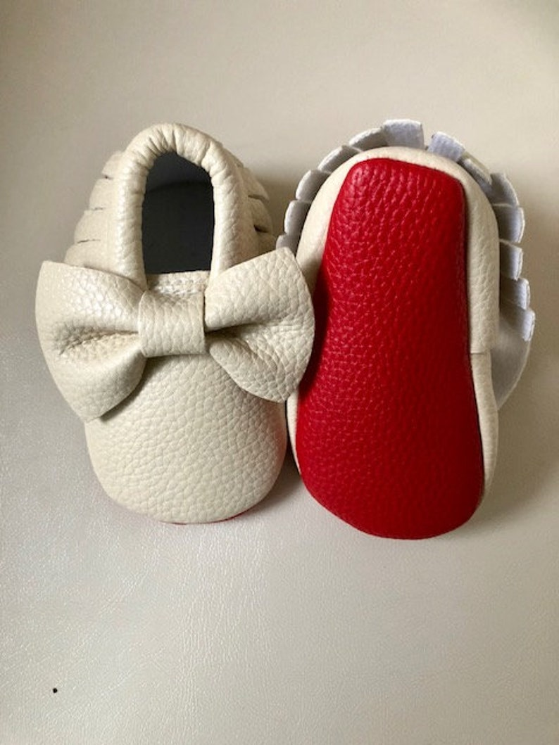 0e80df0351b1 NUDE High quality baby bow red bottom newborn moccasins