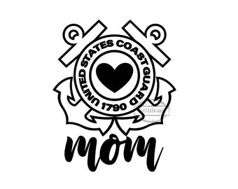 Coast Guard Mom Decal United States Coast Guard US Military Mom USCG Mom Heart Anchors