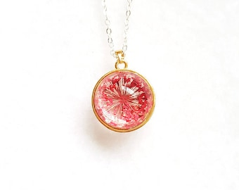 Round Globe Necklace with Real Dried Flowers