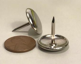 "Qty: 32, Metal Furniture Glides, Furniture Tacks 3/4"", Furniture Hardware, Furniture Nails, Vintage Hardware, Steel Nails, Free Shipping"