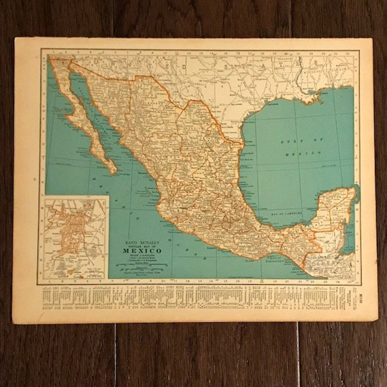 1935 Original Map Mexico Ready to Frame Geography Gift | Etsy