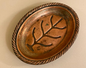 Antique Edward San Giovanni Coin Dish, Soap Dish, Jewelry Tray, Copper and Silverplate, Dresser Dish, Vanity Tray, Organizer, Free Shipping