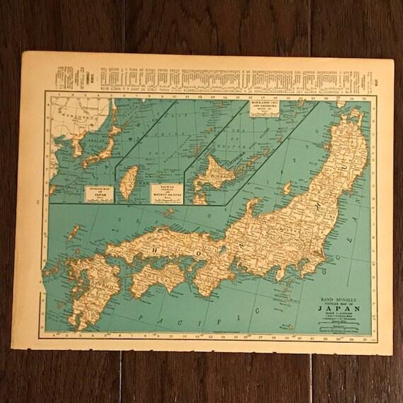 1935 Original Map, Japan / India, Ready to Frame, Geography Gift, Vintage on nikko japan, printable map japan, info about japan, hyogo japan, kawasaki japan, hamamatsu japan, kanagawa japan, takayama japan, languages spoken in japan, winter in japan, honshu japan, world map japan, sendai japan, hiroshima japan, yokota japan, gifu japan, hakone japan, mountains in japan, nagoya japan,