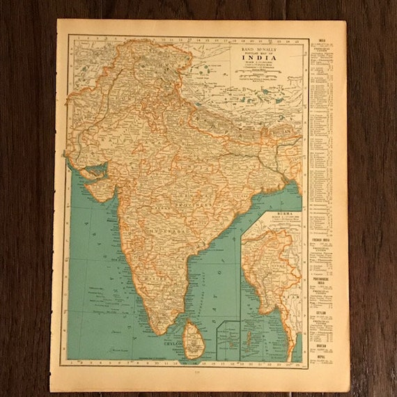 1935 Original Map, Japan / India, Ready to Frame, Geography Gift, Vintage  Paper Maps, Framable Art, Unusual Maps, Bengal, Honshu, Ships Free