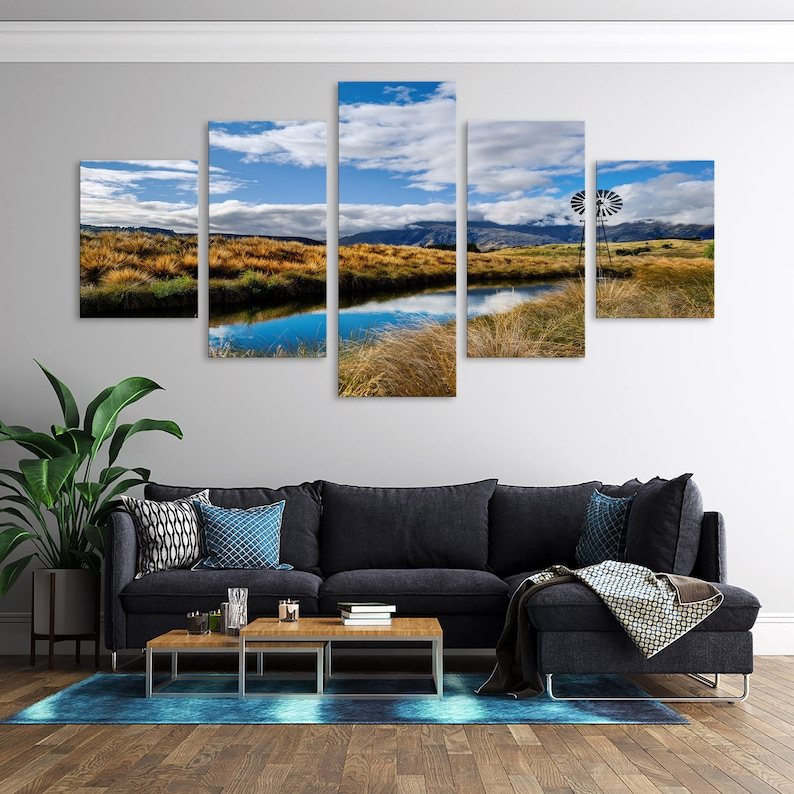 Home Decoration Wall Art Rocky Mountain Countryside House Decor Picture Country Ranch Scenery Watering Hole Multi Panel Canvas Set