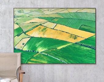 "Green Fields – Original Oli Painting on Paper – 37,7""x26,7"" (96x68 cm)"