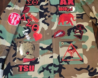 41188a99960f7 DELTA SIGMA THETA Camouflage Patchwork Jacket