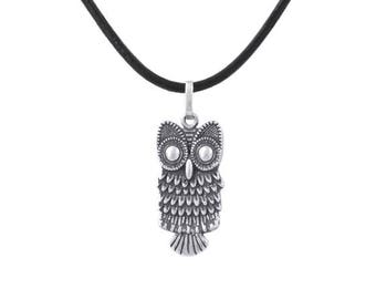 Sterling Silver Owl Pendant with Leather Necklace