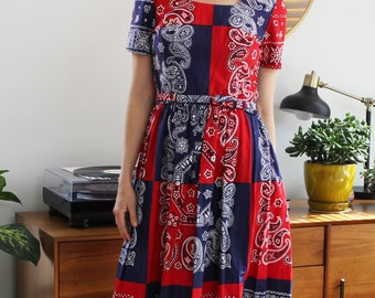 Vintage Red & Blue Patriotic Patchwork Bandana Belted Dress