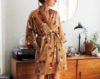 Sienna Floral Silky Nightie Set with Short Robe