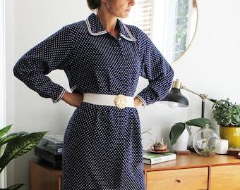 Navy Blue & White Polka Dot Collared Dress