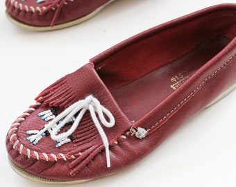 9358fb50ace Maroon Beaded Minnetonka Moccasins