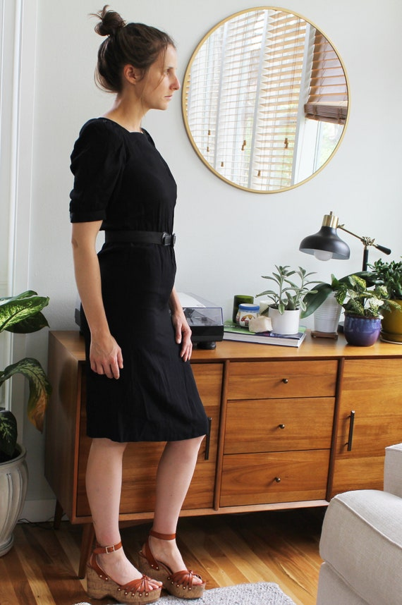 Black Silky Poofy Sleeve High Waist Belted Pencil Dress Etsy