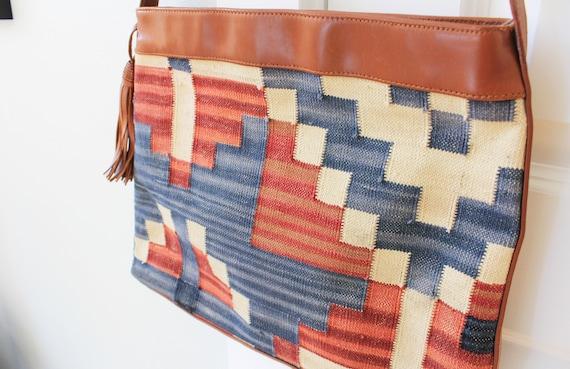 Vintage Deadstock Marco Avane Burlap Abstract Art Cross Body Bag NWT