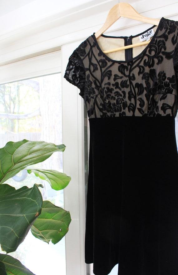 90s Black Velvet Floral Mini Dress
