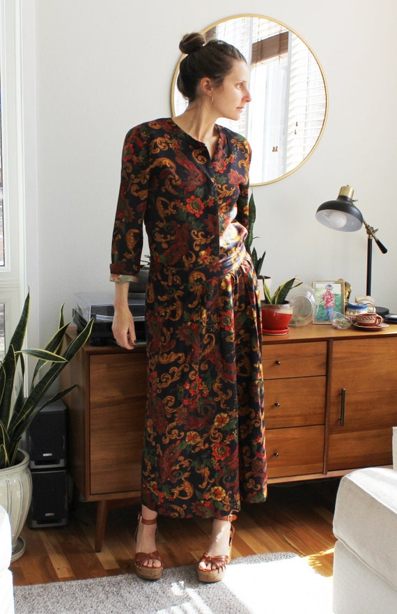 1980s Floral Two Piece Skirt Set