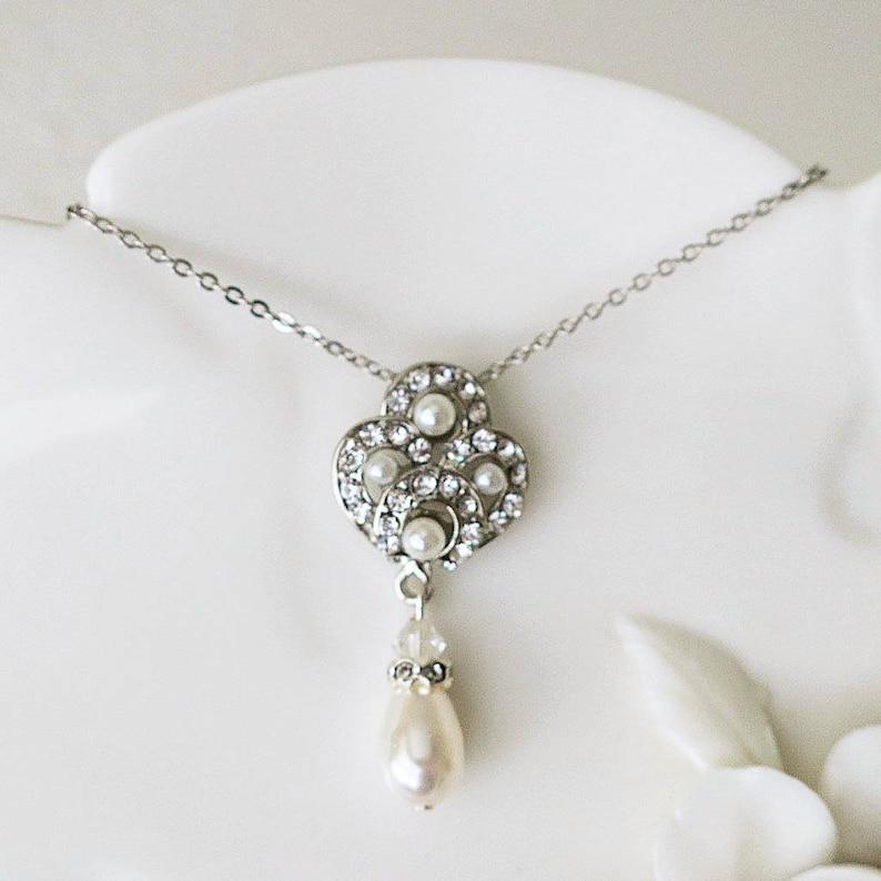 a3f5772000a5 Pearl Drop Necklace Vintage Art Deco Crystal Wedding Pendant