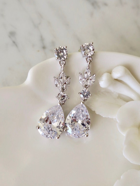 "0.75/"" Clear Crystal CZ Cubic ZirconiA Silver Drop Rhinestone Bridal Earrings"