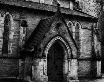 Black and white church, Stone building, High contrast