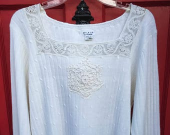 Vintage Sweater with Lace Trim and Mandala (Up-Cycled)