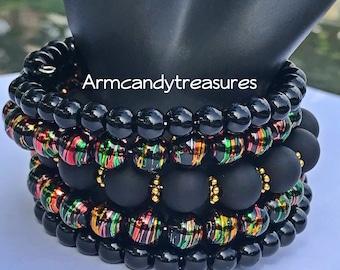 Black memory wire bracelet Cuff bracelet wrap bracelet