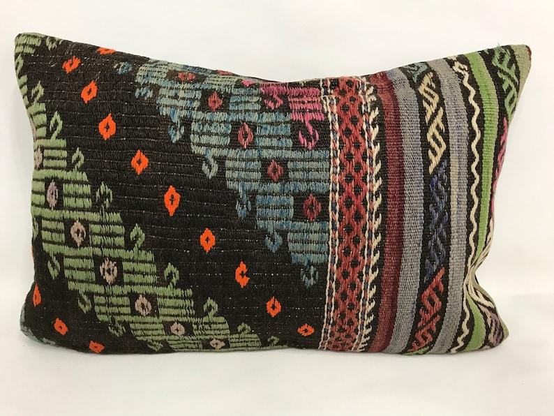 Vintage Kilim Pillow Cover 16\u201d x 24\u201d Fast Shipping with FEDEX 1-3 days