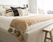 Gray moroccan throw blanket, Cotton Moroccan Pompom Blanket,bedroom blanket, moroccan pompom blanket, Tassel pom pom throw