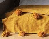 Mustard moroccan throw blanket, Cotton Moroccan Pompom Blanket,bedroom blanket, moroccan pompom blanket, Tassel pom pom throw