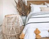 moroccan throw blanket, Cotton Moroccan Pompom Blanket,bedroom blanket, moroccan pompom blanket, Tassel pom pom throw