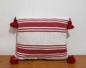 beautiful Moroccan handmade pom pom pillow, Cotton Moroccan Pom Pom Pillow, Striped decorative throw Pillow covers, Home Décor, CP25