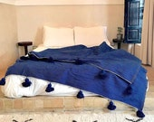 Blue moroccan throw blanket, Cotton Moroccan Pompom Blanket,bedroom blanket, moroccan pompom blanket, Tassel pom pom throw