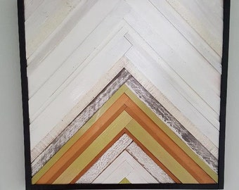 wood wall art, chevron, mosaic wood art