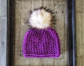 Bright purple hat   Purple hat   Pink hat   Spring hat   Spring colors   Spring Couture   Luxury pompom   Pink and purple   Lollipop purple