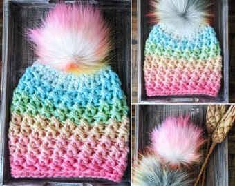 Pastel rainbow hat   Women's hat   Easter hat   Pastel hat   Easter colors   Rainbow   Spring hat   Neon   Baby Easter hat   Kid's hat  