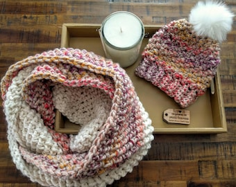 Women's pink scarf   Infinity scarf   Colorful scarf   Pink and cream   Women's scarf   Pink scarf   Women's Infinity scarf   Pink and white