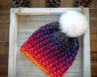 Sunset beanie   Women's rainbow hat   Sunset hat   Women's hat   Women's beanie   Colorful beanie   Sunset   Rainbow   Women's colorful hat