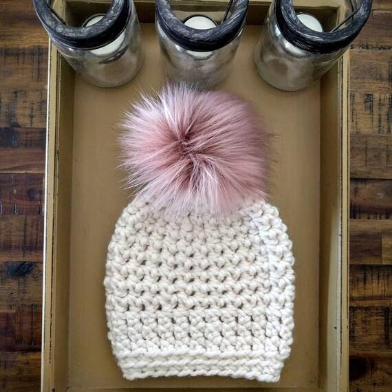 4f1306ff2 Cream and pink hat; Cream women's hat; White and tan hat; Pink and white  hat; Pompom hat; Pink and white; Women's hat; Cream hat; Hat