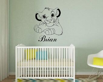 Disney Simba Custom Name Wall Decal / Disney Wall Decal / Lion King Wall  Decal /