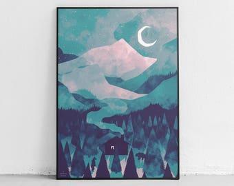 Night Wilderness Art Print, Contemporary Printable Art, Modern Wilderness Home Decor, Watercolour Wall Art, Digital Download