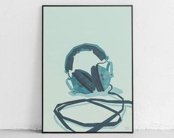 Vintage Headphones Art Print, Retro Audio Print, Audiophile Music Studio Art, Simple Modern Home Decor, Digital Download Wall Art Printable