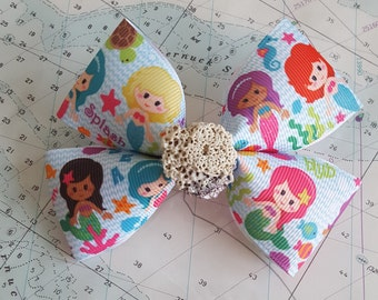 Mermaid Hairbow with Real Seashell Center